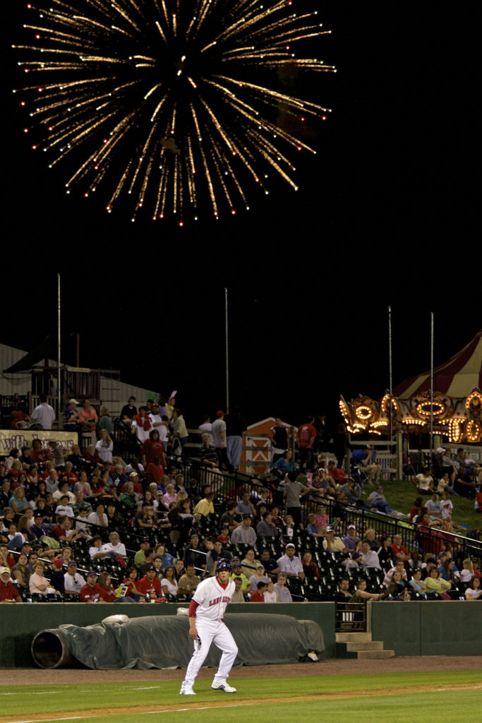 Baseball Game Team Lancaster Pa Barnstormers at Clipper Stadium Fireworks Over Third Bas