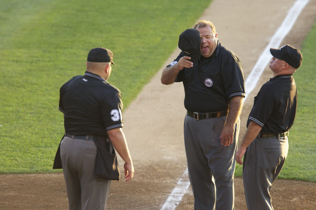 Umpires Laughing Baseball Game Team Lancaster Pa Barnstormers at Clipper Stadium